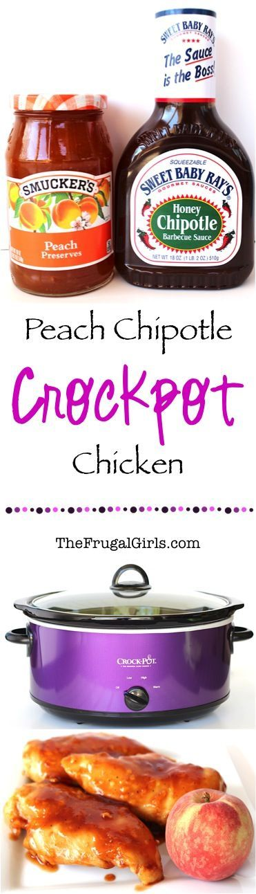 Crockpot Peach Chipotle Chicken Recipe! ~ from TheFrugalGirls.com ~ just a few ingredients for this simple Slow Cooker dinner ~ it's absolutely delicious, and oh-so-easy!