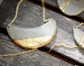 22k Gold Dipped Half Wave - Luster, minimalist jewelry, nickel free