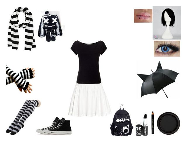 emo girl style .3. by mayleneholm on Polyvore featuring Precis Petite, Alice + Olivia, Converse, Michael Kors, By Terry and Barry M
