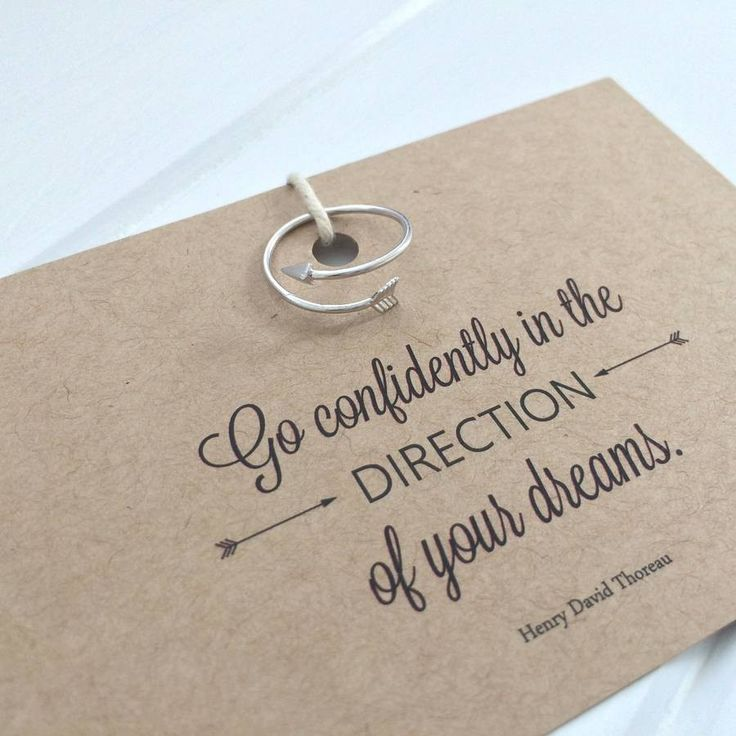 Literary Quote Arrow Ring - 'Go confidently in the direction of your dreams' – Henry David Thoreau Bodleian Shop