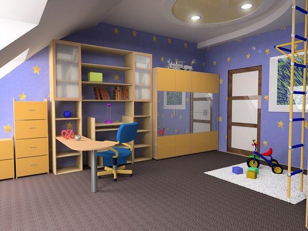 Детская комната в сине голубом цвете
