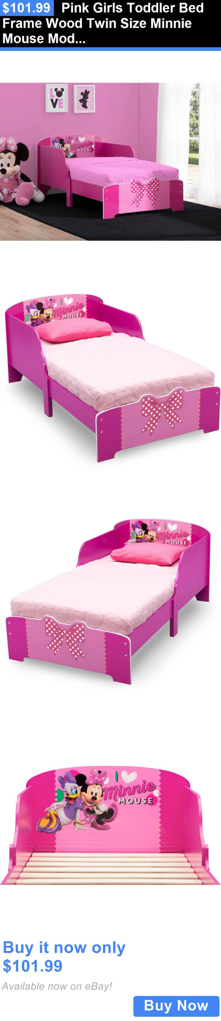 kids at home pink girls toddler bed frame wood twin size minnie mouse modern kids - Minnie Mouse Bed Frame
