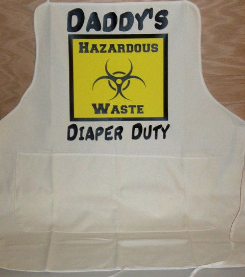 Daddy's Diaper Duty Apron, Hazardous Waste Sign on an Apron, Baby Shower Gift for Dad To Be, Funny Baby Shower Gift, Pregnancy Announcement by KidultGifts on Etsy