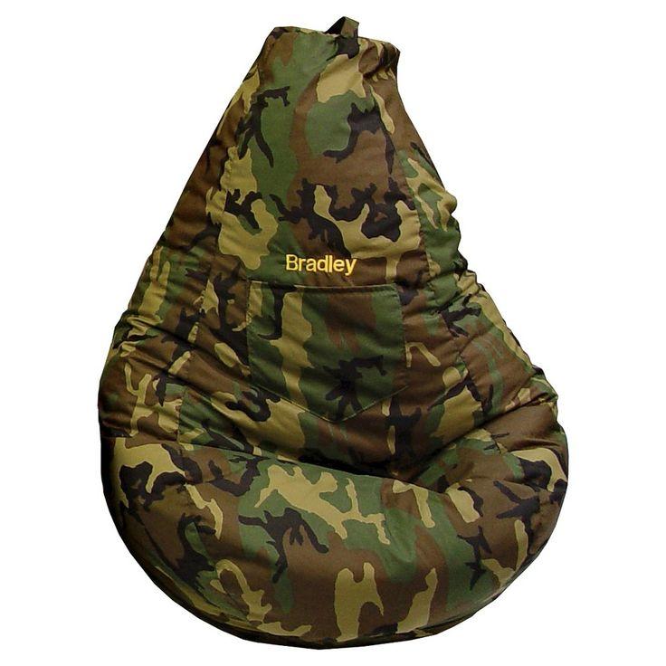 """Gold Medal Cotton """"Monogram"""" Dorm/Gamer Tear Drop Denim Look Bean Bag with Pocket - Camouflage,"""