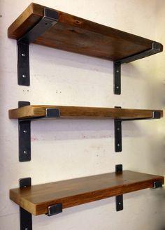 """Modern steel shelf brackets for 2"""" x 10"""" lumber, Industrial loft style metal shelf brackets and supports. heavy duty shelving"""