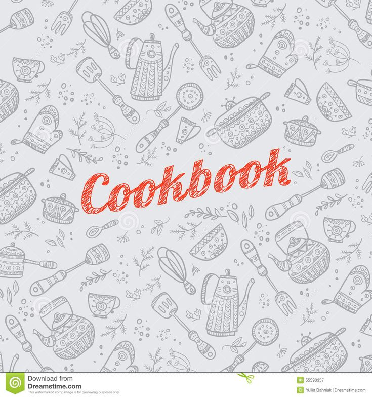 kochbuch deckblatt | Cookbook cover design with kitchen items pattern. Vector template.