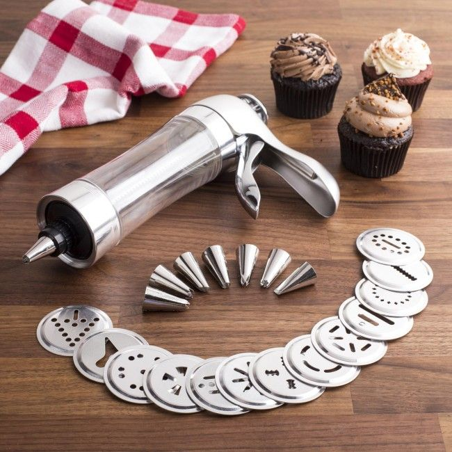 Create the perfect traditional press cookies every time with the Perfect Cookie Press. Just place your fresh room temperature dough in the cylinder, attach one of the 13 die plates and press the lever. The percise amount of dough is automatically pressed out onto your cookie sheet. The set also includes 8 piping nozzles to decorate your cookies or other baking projects. Finish desserts with elegant whipped cream or icing shells, stars, rosettes and leaves.