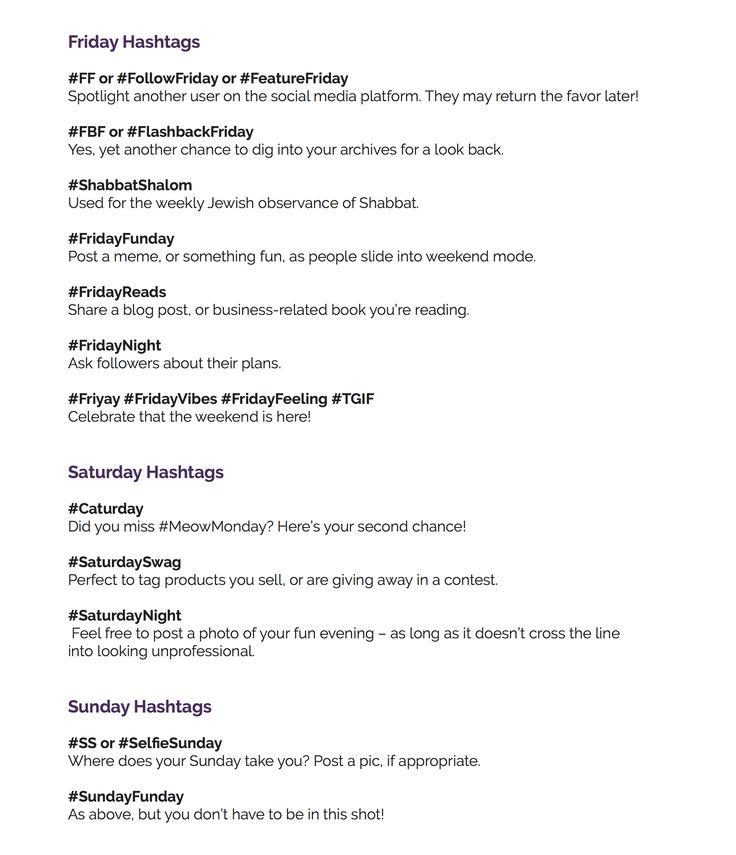 Social Media Hacks Popular Weekly Weekday Week day days Friday Hashtags # Grow Your Instagram Followers