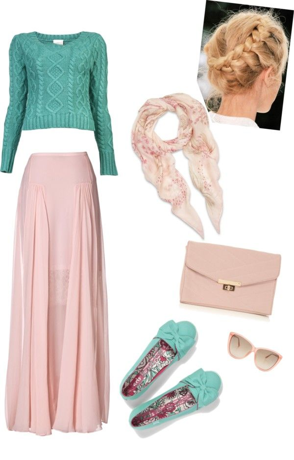 """pink and green_blue modest style"" by emilymusic94 ❤ liked on Polyvore"