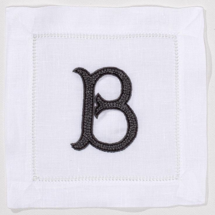 Gray and White Linen Monogrammed Cocktail Napkins, Set of Four