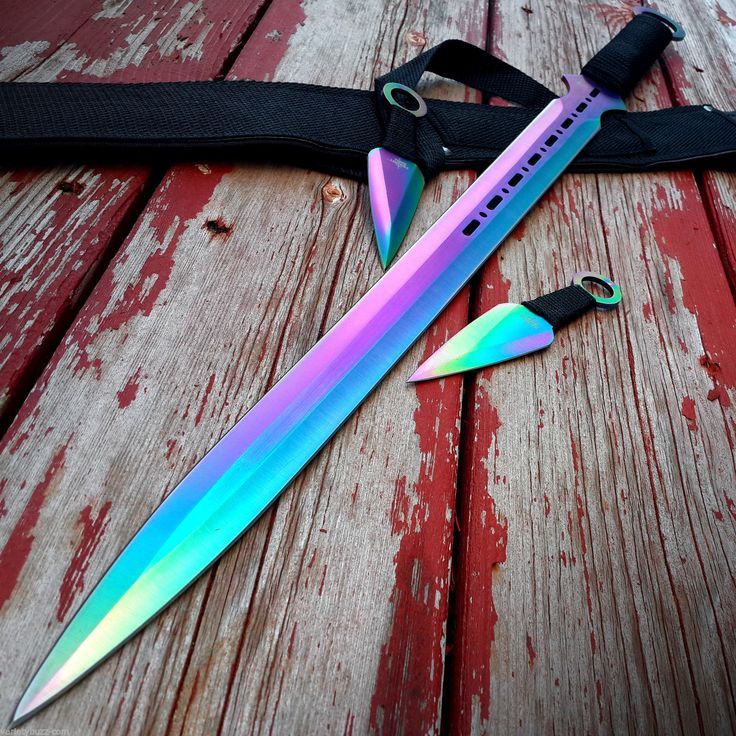 "28"" Rainbow Ninja Sword Full Tang Machete Tactical Blade Katana Throwing Knife | eBay"