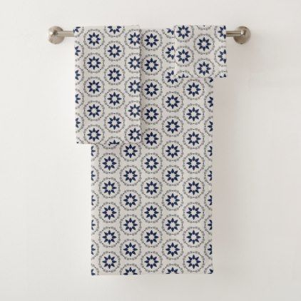 Stars at Dusk - Navy and Grey Bath Towel Set - #customizable create your own personalize diy