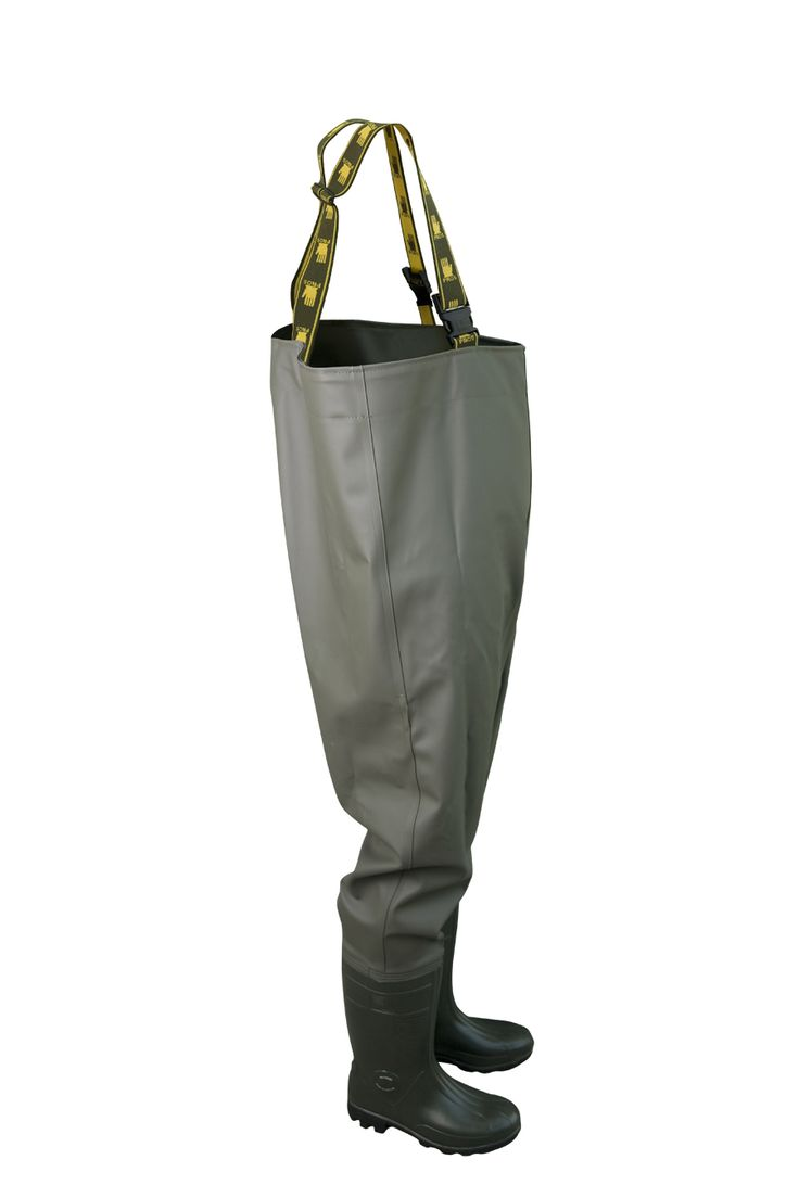 WATERPROOF PROTECTIVE CHEST WADERS Model: SBC01 The chest waders have been produced with high quality PVC boots welded in. The model has elasticated braces. The boots have been tested for slip resistance on ceramic floor with sodium lauryl sulphate solution (NaLS) and on steel floor with glycerol - protection type OB FO E SRC.  Chest waders have been made on waterproof strong fabric Plavitex Heavy Duty. It's a good protection against water. High frequency welding makes seams stronger.