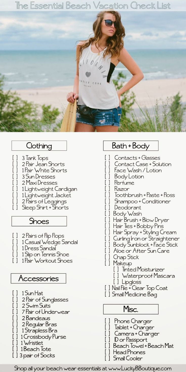 The Essential Beach Vacation Packing Check List ::: @Macy Brignone @Peyton Brignone countdown is on!!!