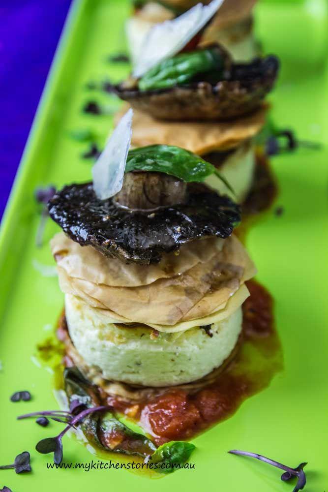 Baked Ricotta with Roasted Mushrooms, Tomato and Basil
