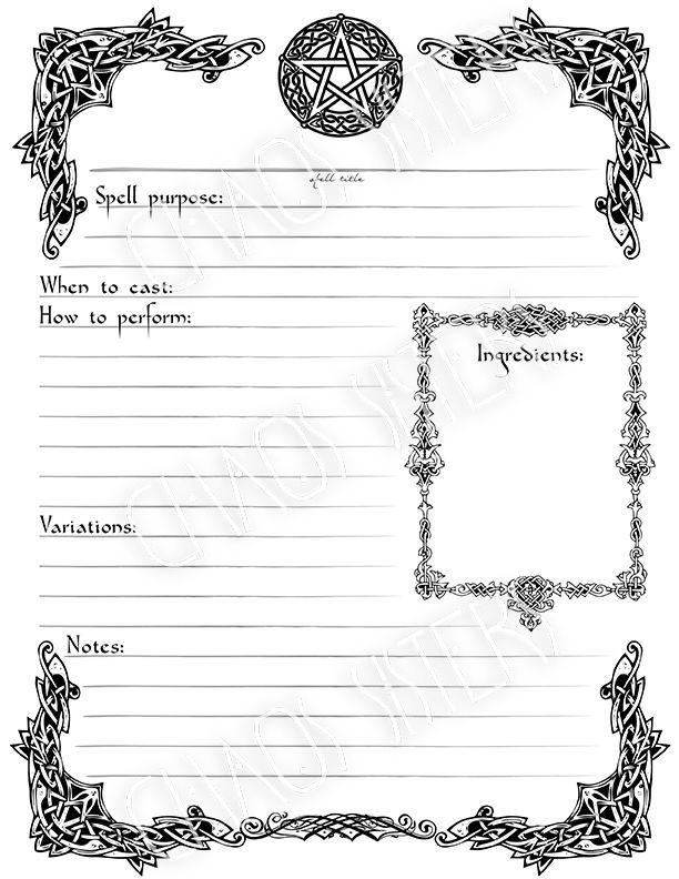image relating to Printable Spell Templates called Printable Spell Template, E-book of Shadows Site, Electronic