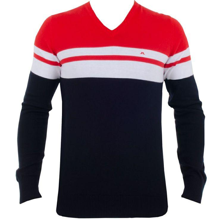 J Lindeberg Dunbar Striped Fine Cotton Red Intense #golf #fashion #trendygolf #jlindeberg
