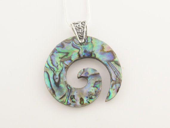 Collier Spirale d'Abalone et d'argent sterling 925 par Bijoux Estreilla