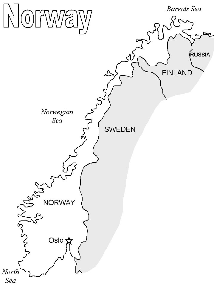 printable map of norway | Norway Map2 Countries Coloring Pages