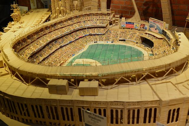 yankee stadium made out of toothpicks the artist stan munro has been gluing over 4 million. Black Bedroom Furniture Sets. Home Design Ideas