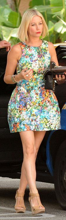 Denise Van Outen at the Paris Couture week in  Zara floral print dress priced at £69.99