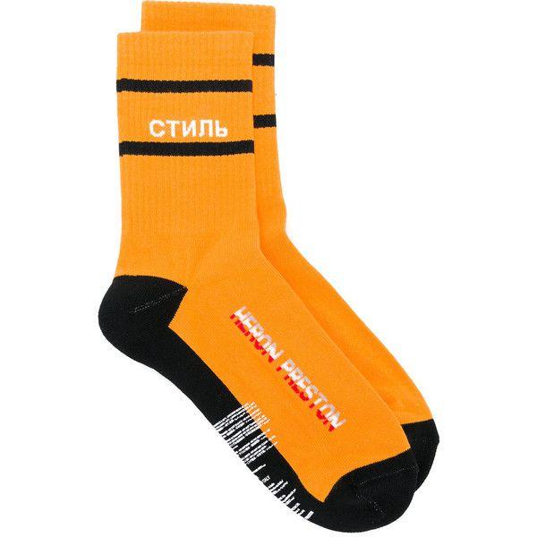 Heron Preston intarsia Style socks ($49) ❤ liked on Polyvore featuring intimates, hosiery, socks and orange socks