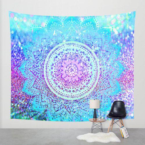 Mandala mural coloré/Tapisserie Tapisserie par haroulitasDesign