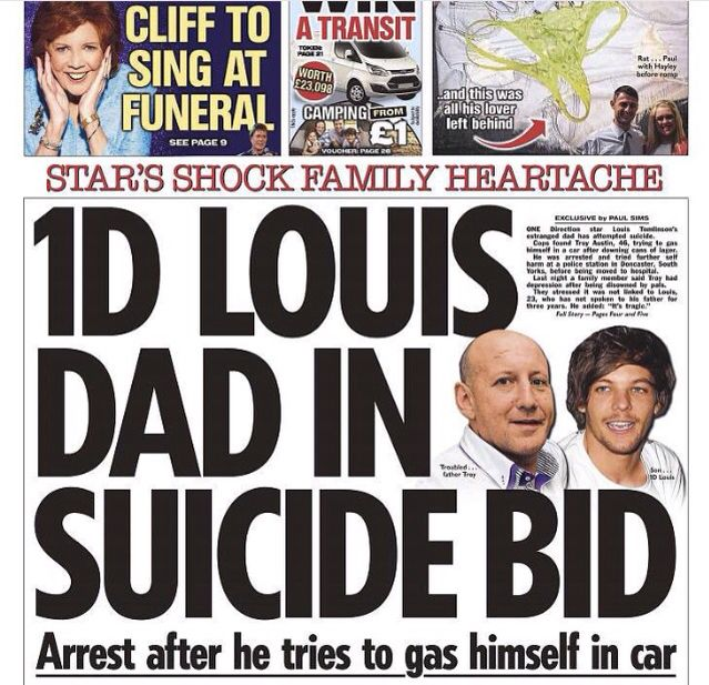Louis' dad (who he apparently hasn't talked to in years) was arrested after drinking and gassing himself in a car :(