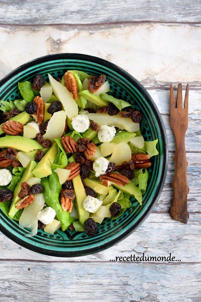 Idée Salade - Avocat noix poire raisin et boursin