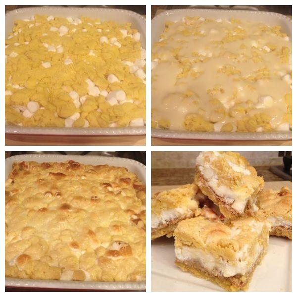 White Chocolate S'mores Gooey Cake Bars Recipe