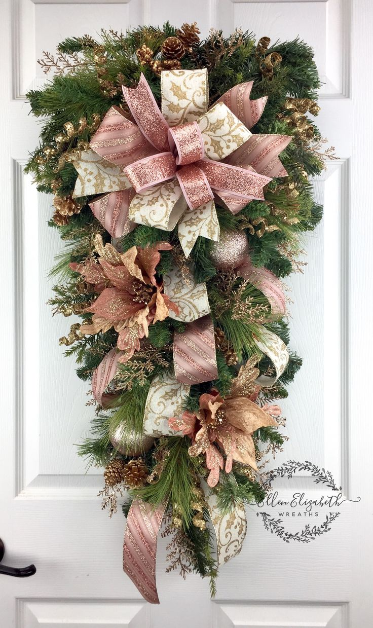 Rose gold teardrop swag. Elegant rose gold wreath for Christmas that can stretch thru winter. #christmaswreaths, #ChristmasWreath, #christmasdecor, #christmas, #Teardrop