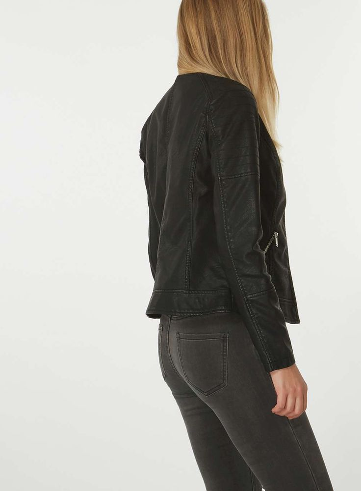 Womens Black Collarless Faux Leather Jacket- Black