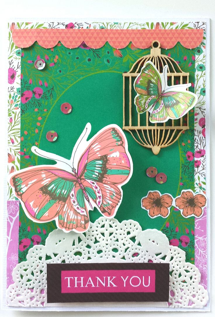 """Thank You"" Card-by Amanda Baldwin for Kaisercraft using 'Fly Free' collection - Wendy Schultz ~ Cards 1."