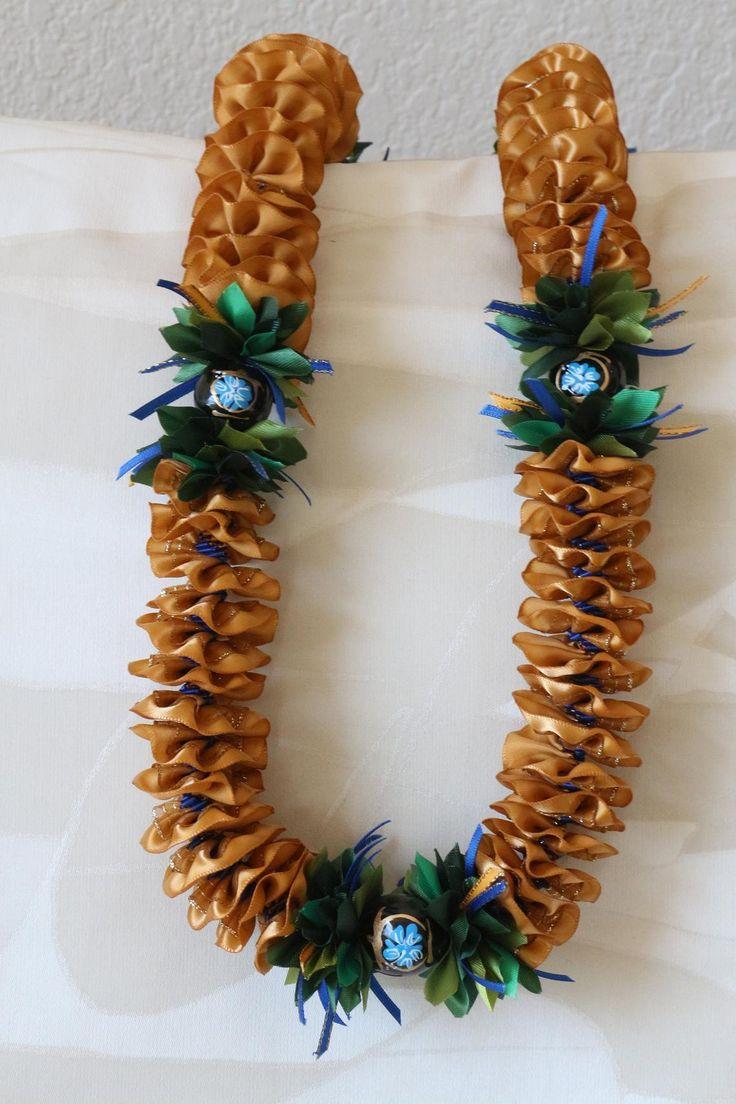 Hawaiian Ribbon Lei Plumeria Gold with Painted Honu/Flower Kukui Nut