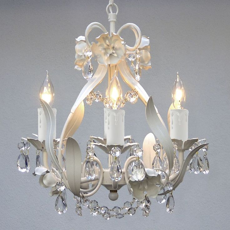White Iron Crystal Flower Chandelier Lighting W