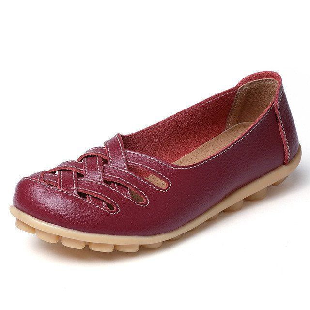 Red Wine Casual Comfy Smooth Shoes with Lattice Upper - Comfortable wo – Nodule Shoe