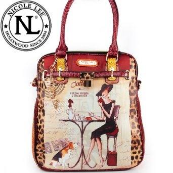 Nicole Lee Gitana Vintage Illustration Art Coffee Print Pad Lock Handbag Purse Hollywood Celebrity Adjustable Shoulder Strap Satchel Handbag in Wine Burgundy Leopard and Snake,