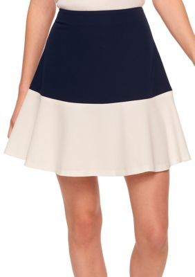 Tommy Hilfiger Women's Colorblock Fit And Flare Skirt - Midnight/Ivory - 16