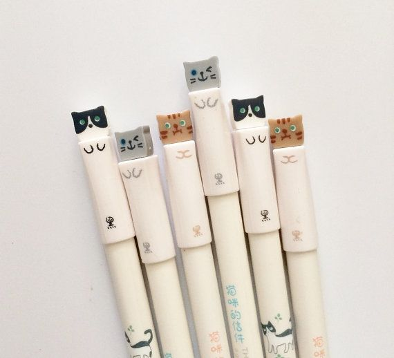 Set of 3 Cute Kitty 0.38 Fine Tip Pens in Black Ink by PapergeekCo