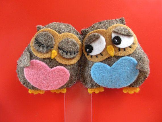 Felt owls in love bookmark
