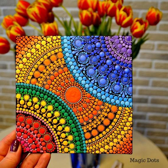 Spring Colors Hand Painted Acrylic Dot Mandala