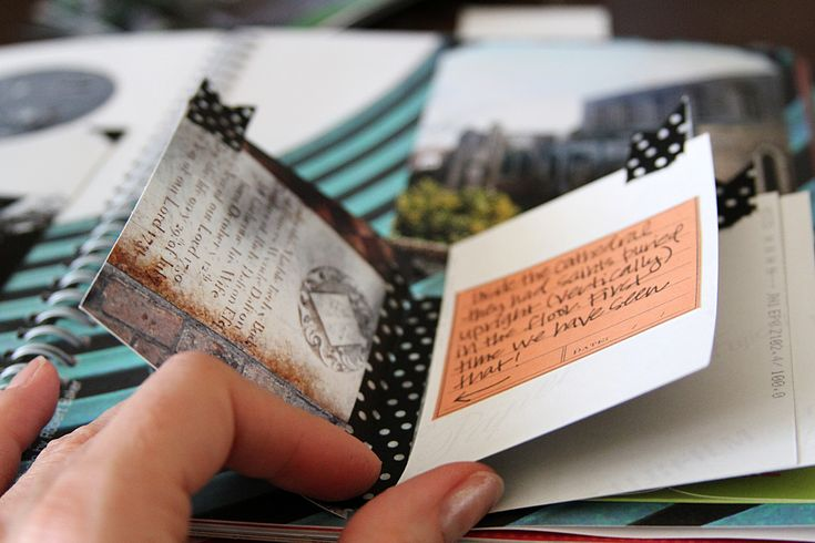 Using the back side of photographs, when taped in a cascading style, to journal on. Another good idea is working on the journal while traveling by attaching objects and writing memories then and adding photographs afterward.