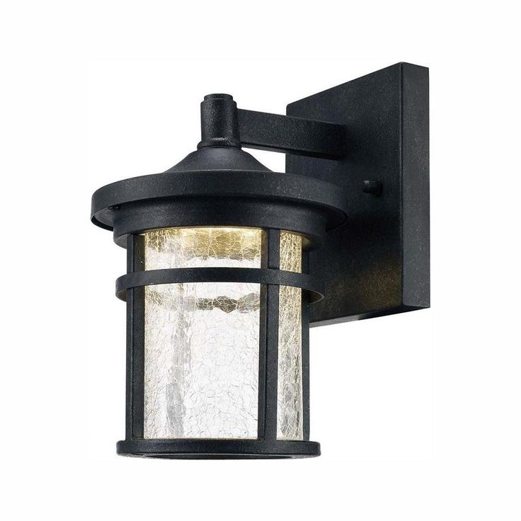 Home Decorators Collection Aged Iron Outdoor LED Wall Lantern Sconce with Crackle Glass-LED-KB S-08304