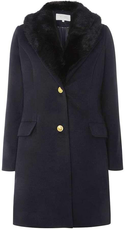 Vila **Vila Navy Faux Fur Collar Coat