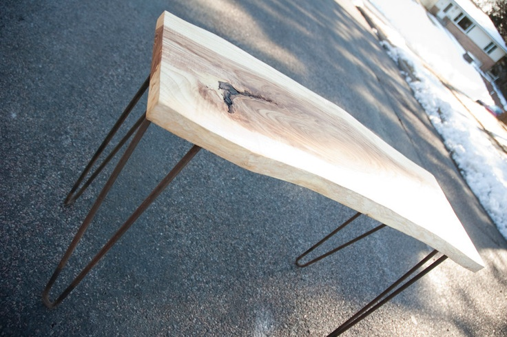 natural live edge slab with hairpin legs table at www.NorskValley.com