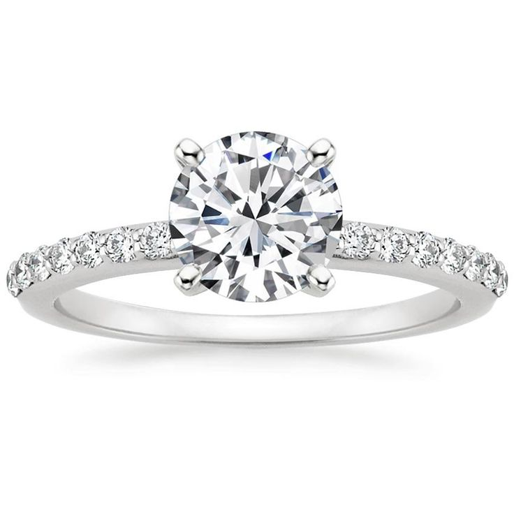 Preset 18K White Gold Petite Shared Prong Lab Created Diamond Ring (1/4 ct. tw.) with 1 Carat Round Lab Diamond from Brilliant Earth