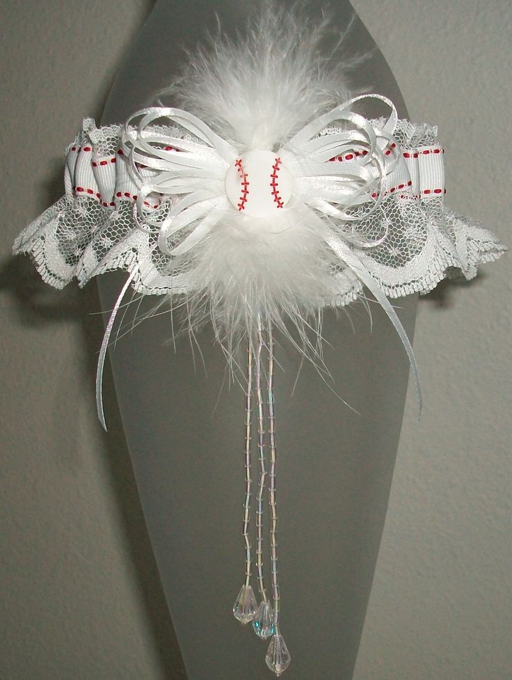Red And White Baseball Garter Lace Crystal Fur Feather