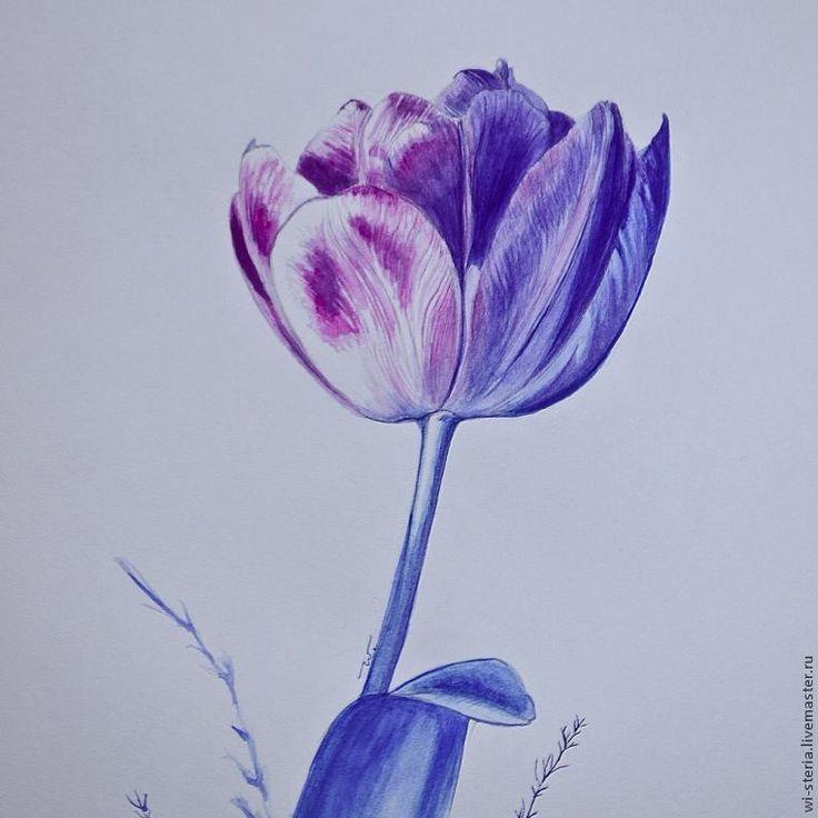 """Пишем интерьерную картину """"Зимний тюльпан"""" в технике акварельной живописи - Ярмарка Мастеров - ручная работа, handmade"""
