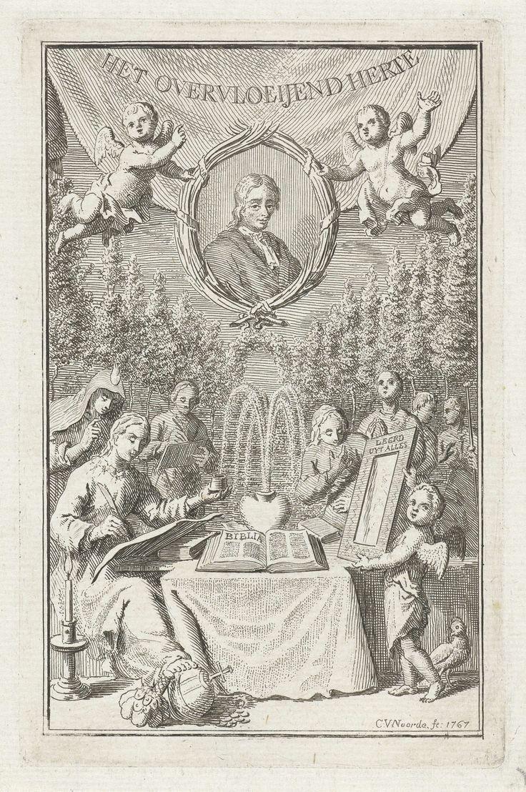 Cornelis van Noorde | Overvloeiend hart, Cornelis van Noorde, Cristoph Heinrich Bohn & Filius, 1767 | Allegorische voorstelling over de goede en goddelijke dingen, die het hart laten overstromen. Een overvloeiend hart als een fontein staat met een opengeslagen bijbel op een tafel. Aan weerszijden van de tafel staan Godsdienst met een vlam op het hoofd, een kaars, die zorgt voor licht, de Eenvoud, die een spiegel toont met de tekst: Leert uit alles. De Tekenkunst schetst het goede. Bovenaan…