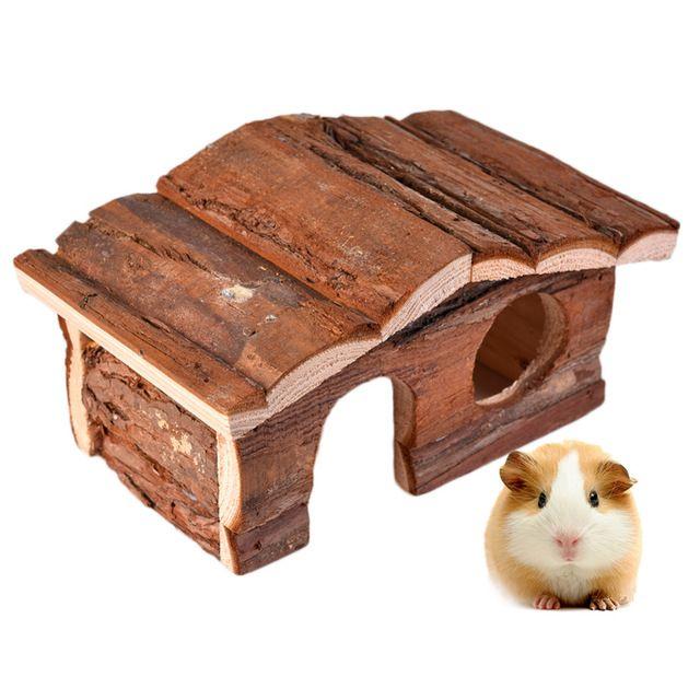 Casa Hamster Suprimentos Pentroof Villa Casa de Brinquedos De Madeira Natural para animal de estimação pequeno esquilo coelho chinchilas cobaia gaiola de alimentação